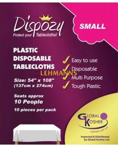 """Dispozy Clear Tablecloths Small Pack 54"""" X 108"""" Seats 10 - 20pk"""