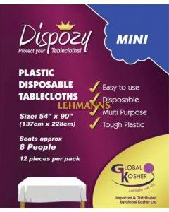 "Dispozy Clear Tablecloths Mini Pack 54"" X 90"" Seats 8 - 24pk"