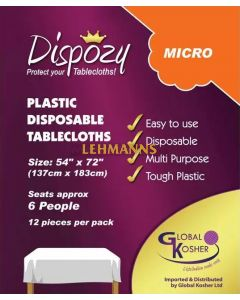 """Dispozy Clear Tablecloths Micro Pack 54"""" X 72"""" Seats 6 - 24pk"""