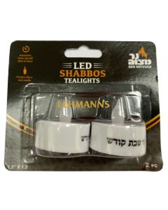 Ner Mitzvah LED Shabbos Tealights with Timer 2pk