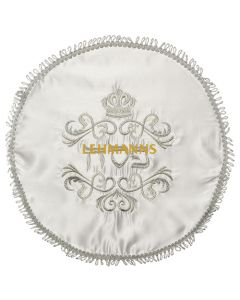 Art Judaica: Matzah Cover White Satin With Silver Embroidery
