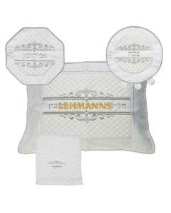 Art Judaica: Pesach Set 4 Pcs - Brockett-Matzah, Afikoman, Pillow Covers with Towel