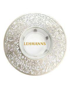 Yair Emanuel:Honey Dish-Glass With Silver Metal Cutout-Shana Tova Umetuka Inscription