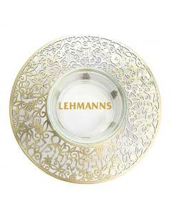 Yair Emanuel:Honey Dish-Glass With Brass Metal Cutout-Shana Tova Umetuka Inscription