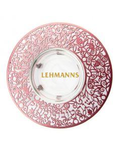 Yair Emanuel:Yair Emanuel:Honey Dish-Glass With Maroon Metal Cutout-Shana Tova Umetuka Inscription