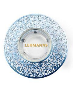 Yair Emanuel:Honey Dish-Glass With Blue Metal Cutout-Shana Tova Umetuka Inscription