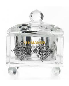 Honey Dish-Crystal With Silver Filigree Cubes
