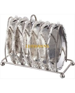 Set Of 6 Silver Plated Trays for Kiddush Cups With Stand