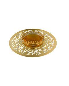 Dorit Judaica: :Honey Dish -Gold Stainless Steel & Glass-Ripe Pomegranate Design