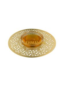 Dorit Judaica:Honey Dish-Gold Stainless Steel & Glass-Mandala Design