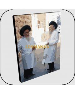 "Paint By Number Jbrush - R' Shlomo Zalman Auerbach & R' Sholom Schwadron ZT""L 16x20"