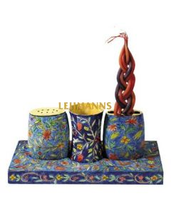 Yair Emanuel: Havdallah Set-Wood with Hand painted Oriental Design