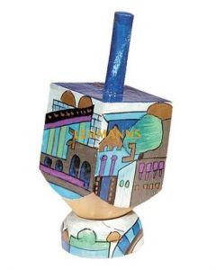 Yair Emanuel:Dreidel with Stand -Wood-Jerusalem Images-Blue-  Small