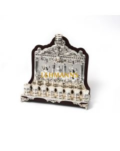 Menorah -Silver Plated on Wood-Chanukah Images  22cm