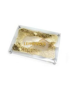 Challah Board-Glass-With Stand Offs-Gold Design