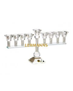 Menorah -Crystal With Crushed Glass - 20cm