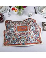 Yair Emanuel: Challah Cover - Full Embroidery - Flowers and Pomegranates Motif-Multicolor