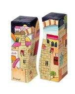 Yair Emanuel:Salt & Pepper Shakers -Handpainted with Jerusalem Images