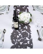 Dorit Judaica:Table Runner -Felt with Cutout Pomegranate Design-Grey