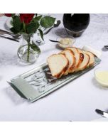 Dorit Judaica: Stainless Steel and Glass Serving Tray with Pomegranate Design