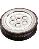Matzah Holder With Seder Plate on Top- Wood & Silver Plated