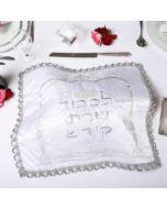 Art Judaica:Challah Cover-Satin-Embroidered with Silver And Gold Candlesticks