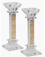 Candlesticks-Crystal With Gold Floral Design 17.8cm