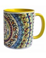 Dorit Judaica:Ceramic Decorative Mug-Mandala Pattern with Yellow Decoration