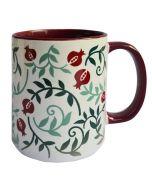 Dorit Judaica: Ceramic Decorative Mug-Pomegranate  Pattern with Bordeaux Decoration