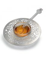 Dorit Judaica:Honey Dish -Stainless Steel & Glass-Cut Out Floral Design