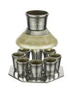 Art Judaica:Kiddush Wine Fountain Set-Hammered Aluminium-Pearl Fountain