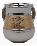 Washing Cup-Polished Stainless Steel With Gold Motif