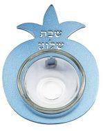 Yair Emanuel:Salt Holder-Pomegranate Shape-Blue Coloured Anodized Aluminum-Pomegranate