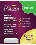 "Dispozy Clear Tablecloths Medium Pack 54"" X 120"" Seats 10 - 20pk"