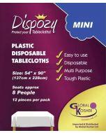 "Dispozy Clear Tablecloths Mini Pack 54"" X 90"" Seats 8 - 12pk"